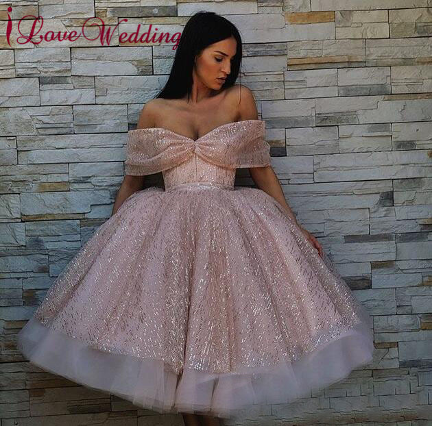 New Fashion 2019 Off The Shoulder Shinning Lace Prom Cocktail Custom Made Ball Gown Knee Length Short Cocktail Dress