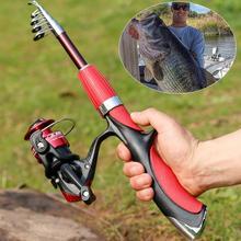 цена на Hot Sale 1.4m Fishing Rod and Reel Set Casting Fishing Rods Carbon Ultra Light Rod with Mini Spinning Reels Fishing Tackle Set