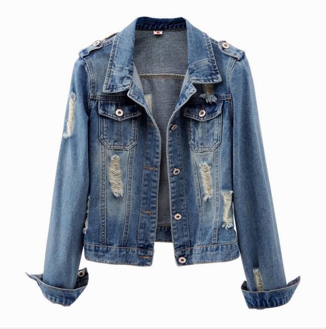 Women Denim   Jacket   Coat Denim Casual Women   Basic     Jacket   Thin Windbreaker With Pockets Vintage Autumn Slim Women Outerwear