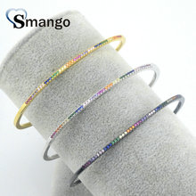 Wholesale Copper Micro Pave CZ Round Shape Charm Bangle In 3 Colors Top Quality Plating of 5Pcs,B0110