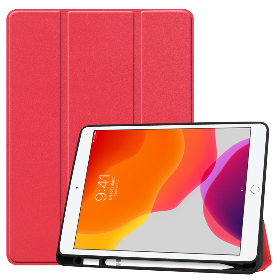 red Pink Slim Smart PU Leather Case For Apple iPad 10 2 2019 with Pencil Holder Cover For