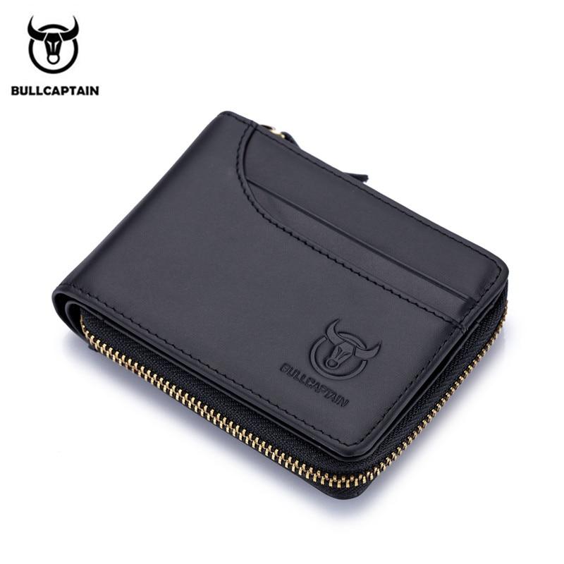 BULLCAPTAIN Genuine Leather Men Wallets Short Coin Purse Small Retro Wallet Cowhide Leather Card Holder Pocket Purse Men Wallets