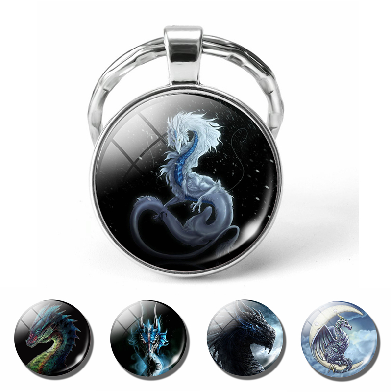 Fashion Dragon Keychain Pendant Handmade Glass Cabochon Dome Fantasy Wing Keyring Jewelry Men Women Key Chain Ring Gift