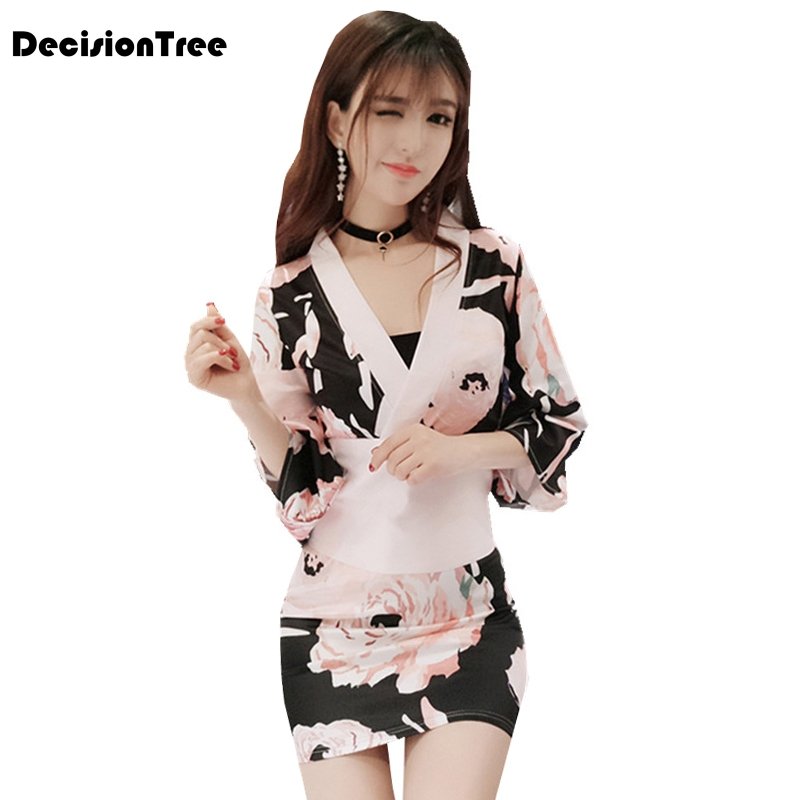 2019 Japanese Kimono Sets Traditional Silk Yukata Dress Japan Sexy Cosplay Costumes Cos Costume Suits Role Play Clothing