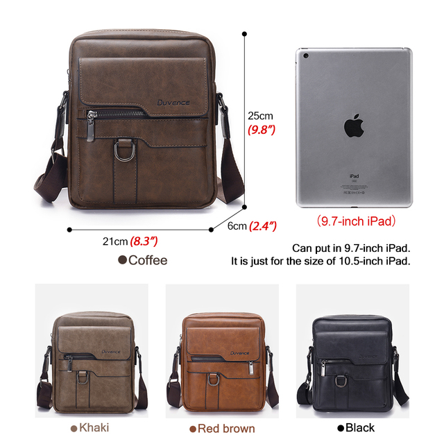 "Fashion Men Shoulder Bag for 10.5"" ipad Men PU Leather Flaps Men's Crossbody Bags Business Brown Flap Male Solid Messenger Bag 1"