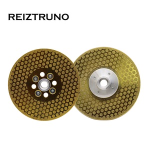 """Image 3 - REIZTRUNO 5"""" Double Sided Marble Diamond Blade with Quad Adapter Electroplated continuous Turbo Blade for cutting shaping marble"""