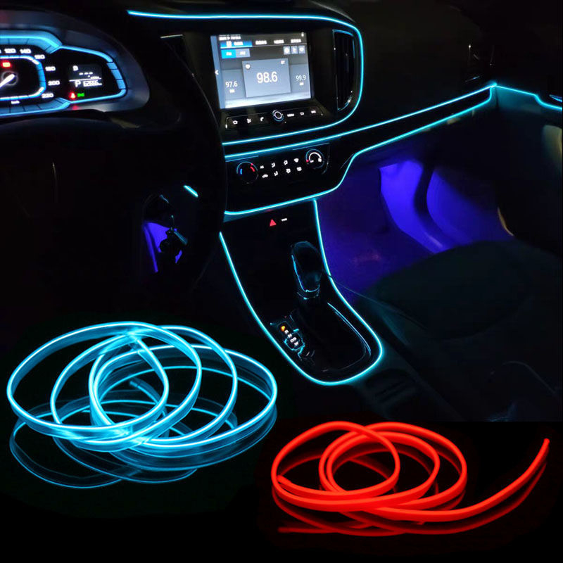 Автомобильный неоновый светодиодный светильник Подсветка салона светильник ing гирлянда провода EL трос Трубка окружающей среды светодиодн...