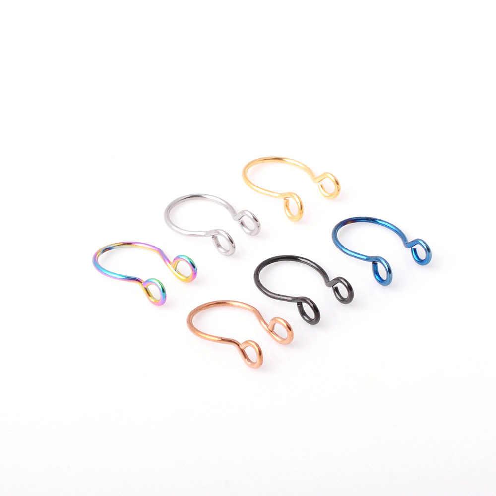 2 חתיכה מזויף האף טבעת גותיקה פאנק שפתיים אוזן האף מזויף על מחץ פירסינג חישוק שפתיים חישוק טבעות עגילים