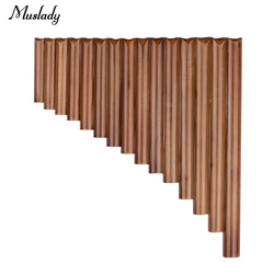 Muslady 15 Pipe Pan Flute G Key Pan Pipes Natural Bamboo Panpipes Chinese Traditional Woodwind Instrument with Carry Bag