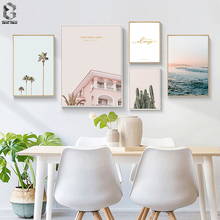 Scandinavian Tropical Landscape Posters Modern Prints Sea Cactus House Quotes Wall Art Canvas Painting Nordic Decoration Picture