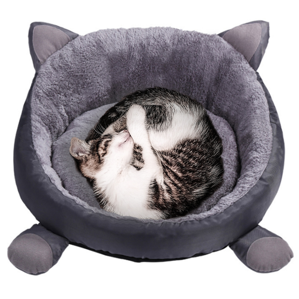 Cotton Pet Beds for Cats and Dogs in Round Shaped to Keep Pets Warm in Winter Season