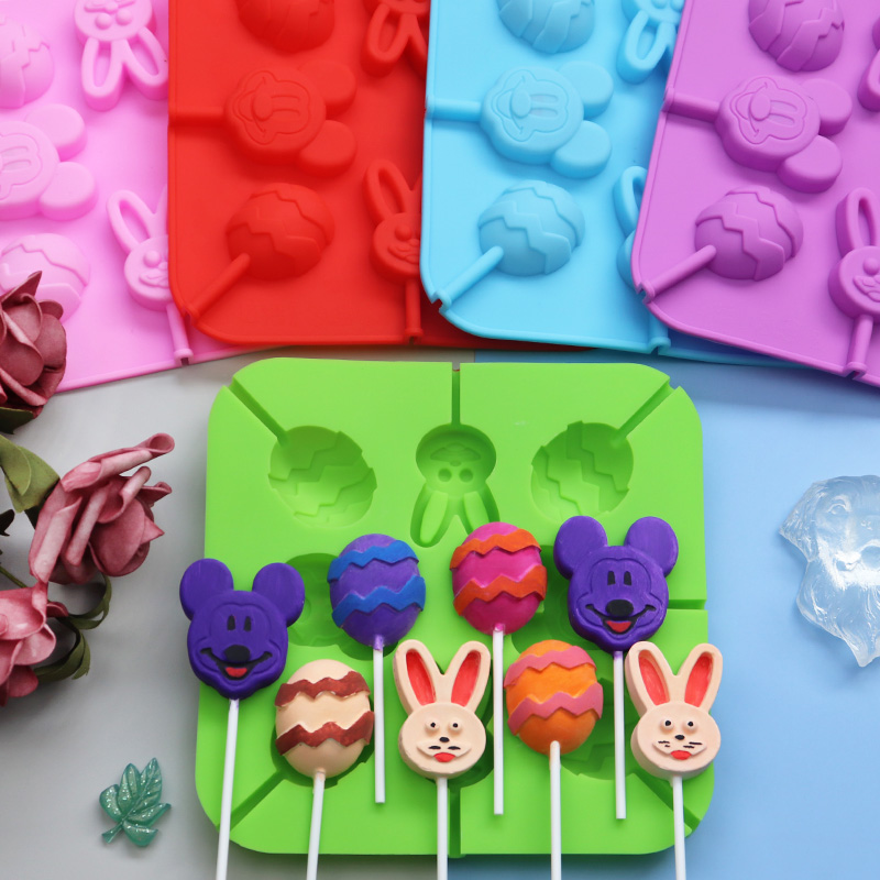 8 With Mickey Mouse Rabbit Easter Eggs Silicone Chocolate Mold, Silicone Lollipop Mold
