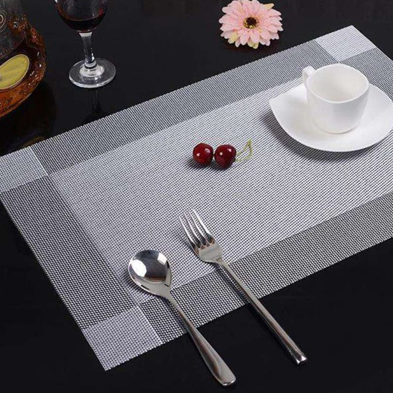 Placemats Placemats Set of 6 Table Mats Washable Place mats Stain Resistant Non slip Dinner Mats Easy to Clean PVC Woven Vinyl|Mats & Pads| |  - title=