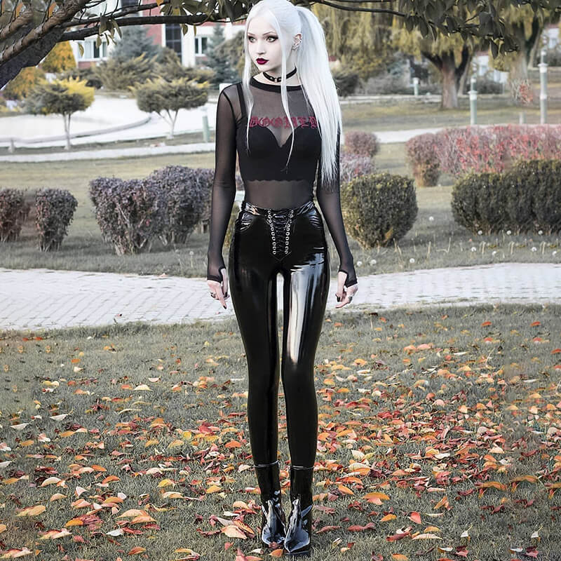 Women Sexy Punk PU Leather Skinny Pants Club Glossy Shiny Bodycon Trouser Ladies Lace Up Slim High Waist Biker Goth Tight Pants