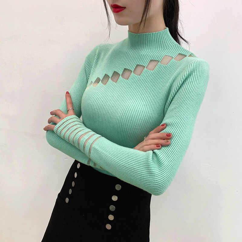 ソフトタートルネックセーター長袖セクシーなニットセーターカジュアル固体プルオーバー女性セーターファッション 2019 女性 6366 50