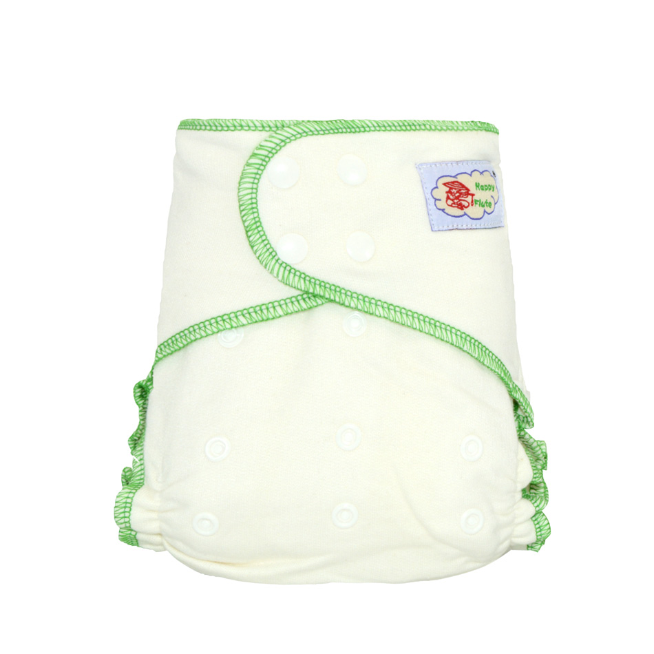HappyFlute Onesize bamboo cotton  fitted diaper, natural, AIO hemp diaper, fit babies from 5-15kgs,needs to wear a diaper cover