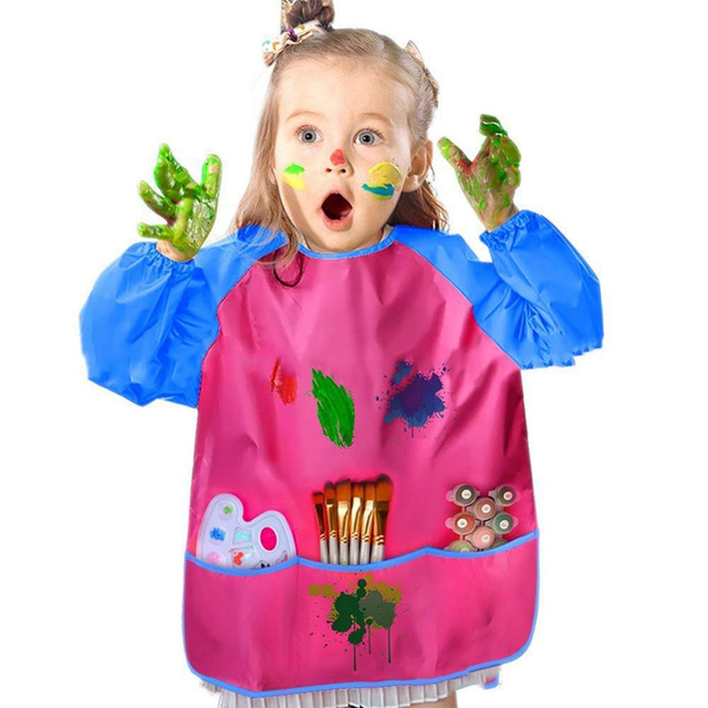 1pc Kids Apron for Painting School Smock for Painting Boy's and Girl's Portable Long Sleeve Waterproof Child Art Apron 2