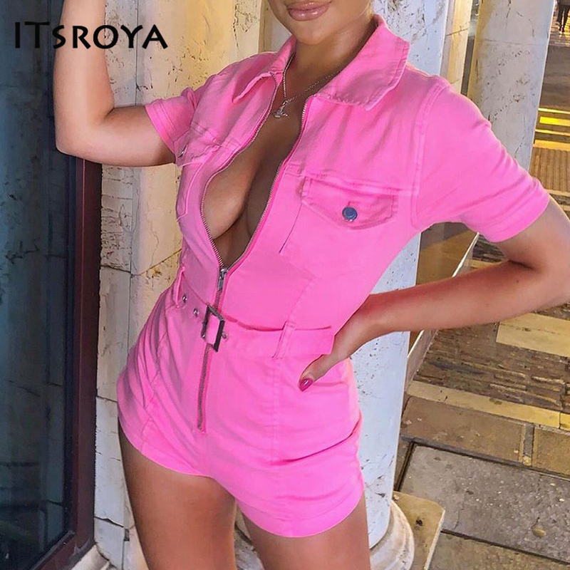 Itsroya Sexy Summer Jumpsuit Women Deep V Neck Bodycon Playsuit Sashes Zipper Pockets Club Party Rompers Womens Jumpsuit Outfits