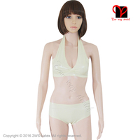 Sexy White Latex Bras Rubber Panties Lingerie Set Crop Top Brassiere Swimsuits Underpants Cups Plus NY 007
