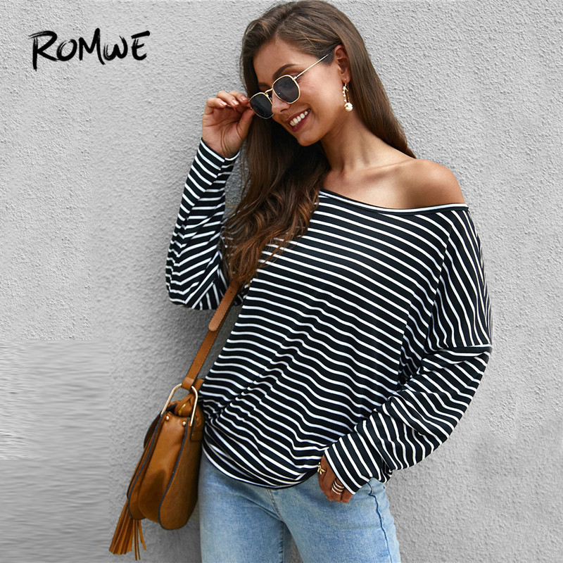 ROMWE Asymmetrical Neck Striped T Shirts Women Fall 2019 Clothing Loose Casual Stretchy Long Sleeve Tshirt Ulzzang Ladies Tops