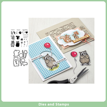 Raccoon Metal Cutting Dies and Clear Stamps for DIY Scrapbooking Card Dies Stencils Paper Crafts Photo Album Decor New Stamps merry christmas trees sticker painting stencils for diy scrapbooking stamps home decor paper card template decoration album