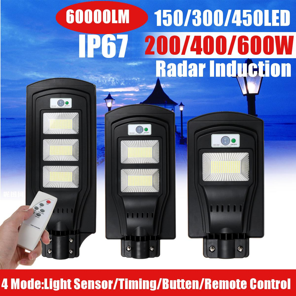 200W 400W 600W LED Outdoor Solar Street Light Solar Powered IP67 Wall Lamp Radar Motion Remote Light Control For Garden Yard