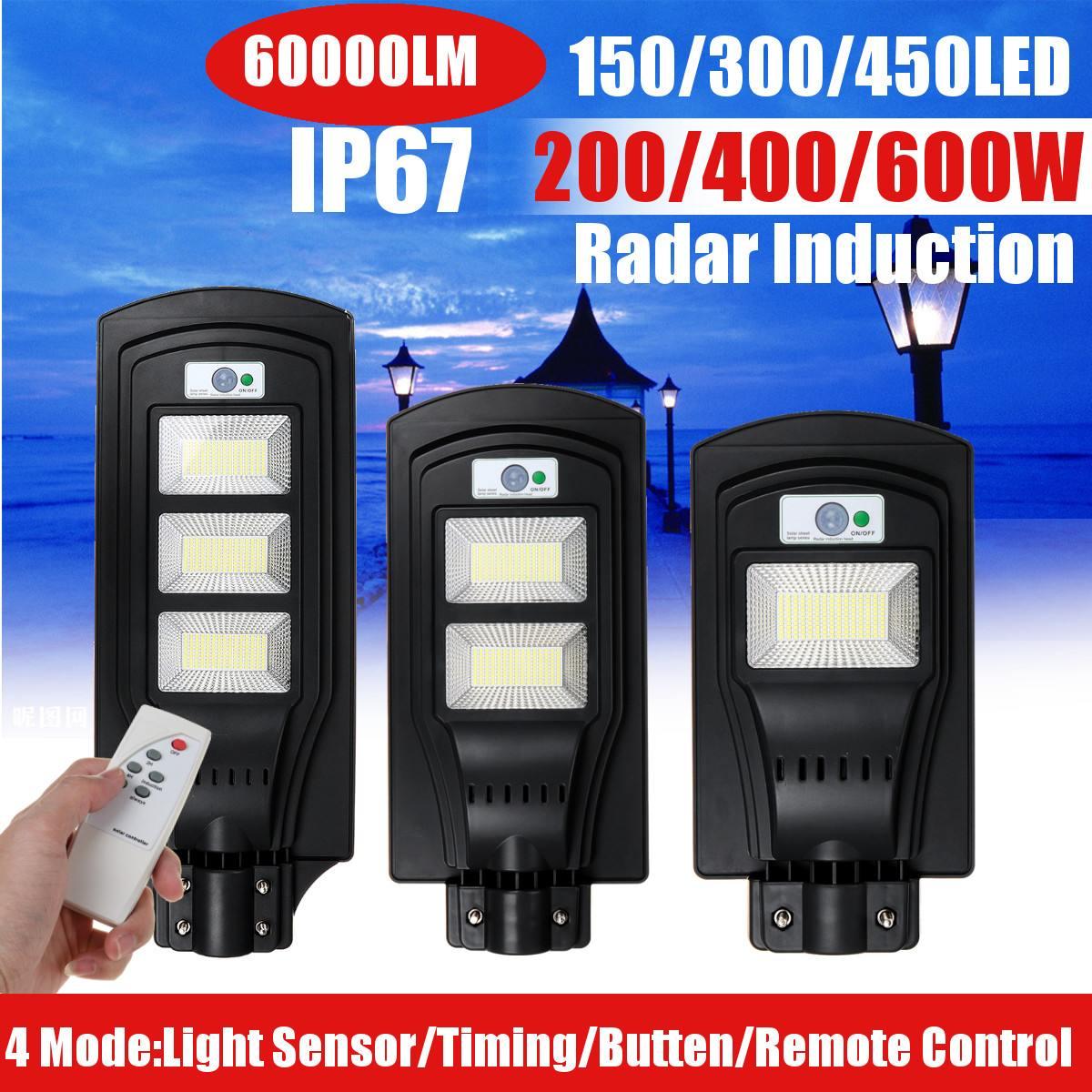 Işıklar ve Aydınlatma'ten Sokak Lambaları'de 200W 400W 600W LED açık güneş sokak lambası güneş enerjili IP67 duvar lambası Radar hareket uzaktan işık kontrol bahçe Yard için title=