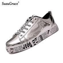 SusuGrace Gold Silver Black Leather Casual Shoes Men Bling hip-hop Coup