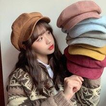2020 New Fashion Autumn and Winter Warm Faux Wool Brim Beret Women Girl French Artist Beanie Hat Ladies Elegant Hat