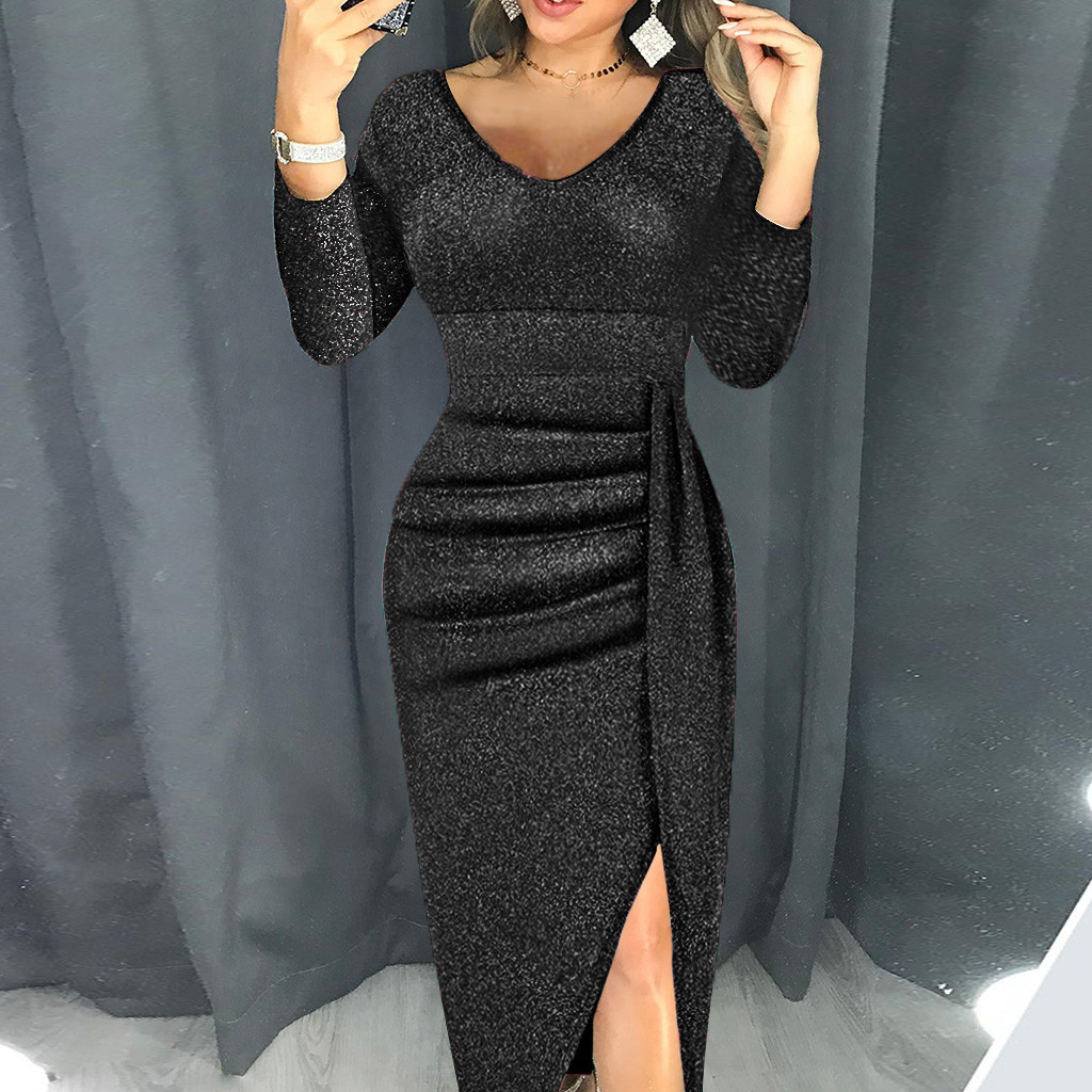 night dress Women Fashion V Neck High Slit prom Bodycon Dress Long Sleeve Party Dresses vestido