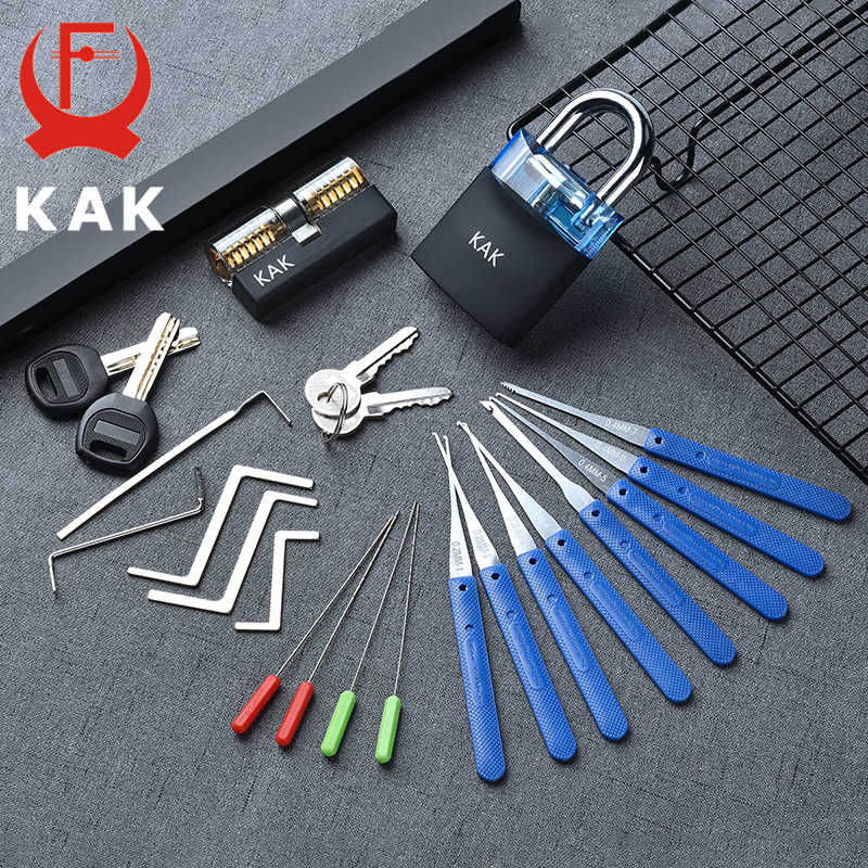 Kak 透明可視ピックカッタウェイ練習南京錠ロックとブロークンキー削除フックキット抽出セット鍵屋レンチツール