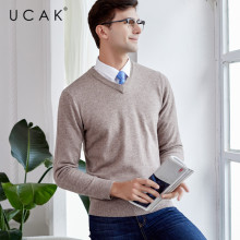 UCAK Brand Sweaters Men 2019 Autumn Winter V-Neck Solid Pure Merino Wool Casual Pull Homme Sterrtwear Knit Warm Sweater U3122