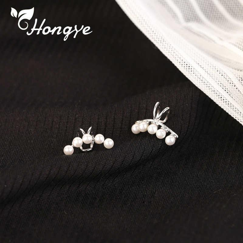 รูปร่างดวงจันทร์ไข่มุกหูคลิปเงินแฟชั่นเกาหลีต่างหูไม่มี Hoop หูหวานงานแต่งงานเครื่องประดับหู