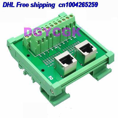 DHL 10pcs 1x Ethernet Dual RJ45 Female To AV Terminal Breakout DIN Rail Mounting Carrier 22-ct