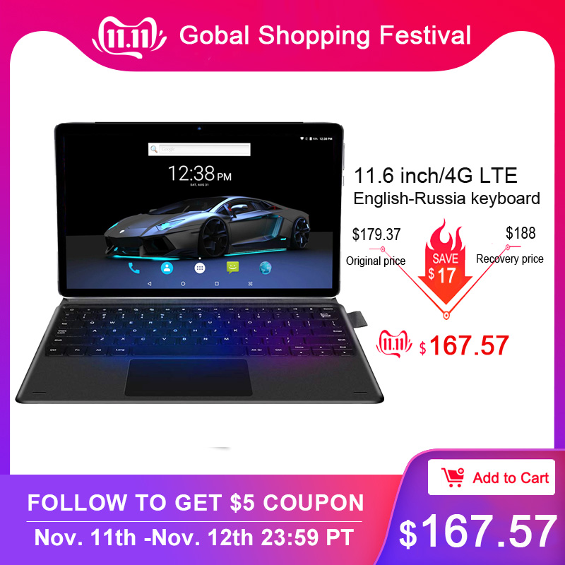 11.6 Inch Tablet 2 In 1 Type-C Tablet With Keyboard MT6797 10 Cores Android 8.0 Tablet 1920*1080 6GB RAM 128GB ROM Metal Body
