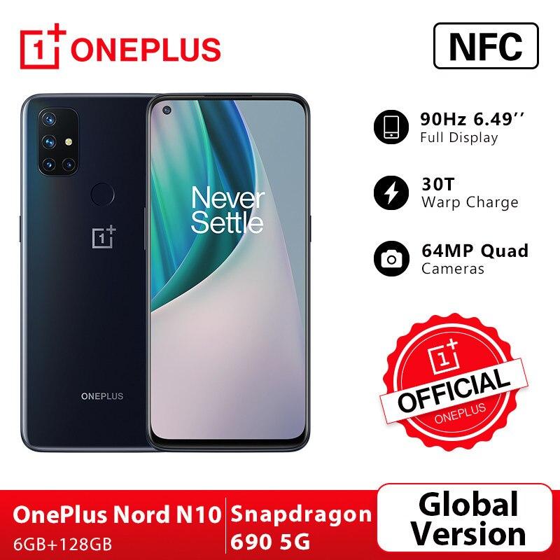 World Premiere Global Version OnePlus Nord N10 5G 6GB 128GB Snapdragon 690 Smartphone 90Hz Display 64MP Quad Cams Warp 30T NFC