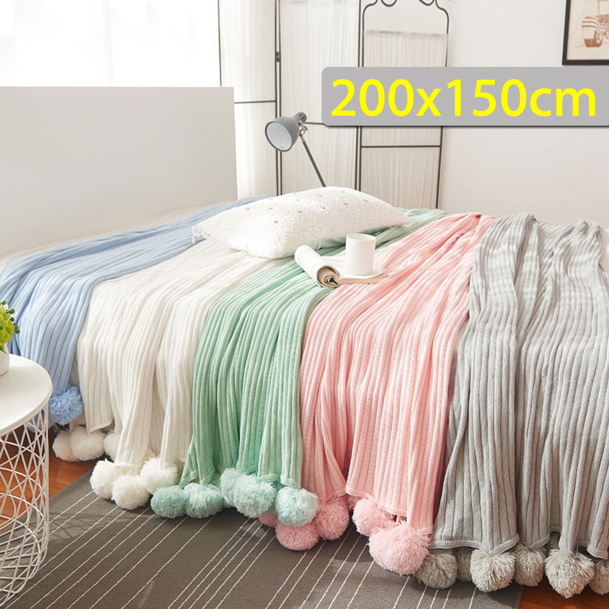 150x200cm Soft Knitted Crochet Throw Blanket Long Pile Pom Super Warm Bed Sofa Cover Decor