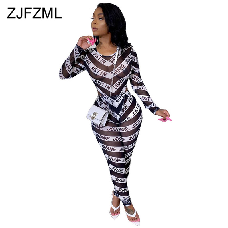 Transparent Mesh Striped Patchwork 2 Piece Sets Club Outfit Women O-Neck Long Sleeve T-Shirt + Skinny Trousers Ladies Tracksuits