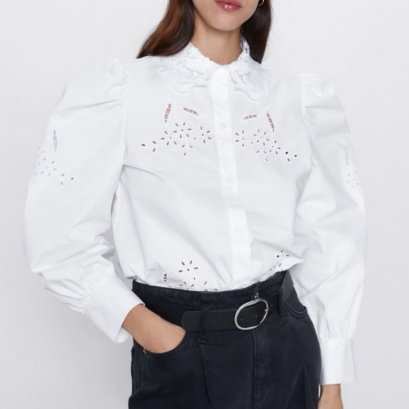 Embroidery Shirt Women Spring 2020 New Fashion Hollow Out Crochet Lace Collar Blouse Modern Lady Black White Shirts