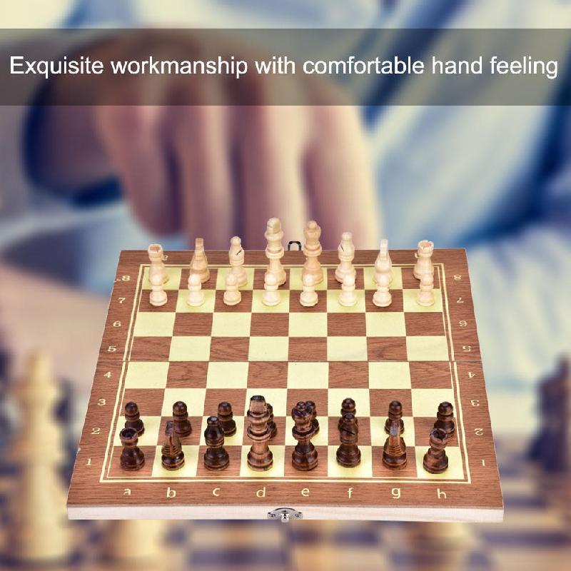 Placa de Xadrez de Madeira Durável e Leve Fácil de Jogar Conjunto de Xadrez de Placa Portátil Dobrável Xadrez Grande 34*17*3.5cm