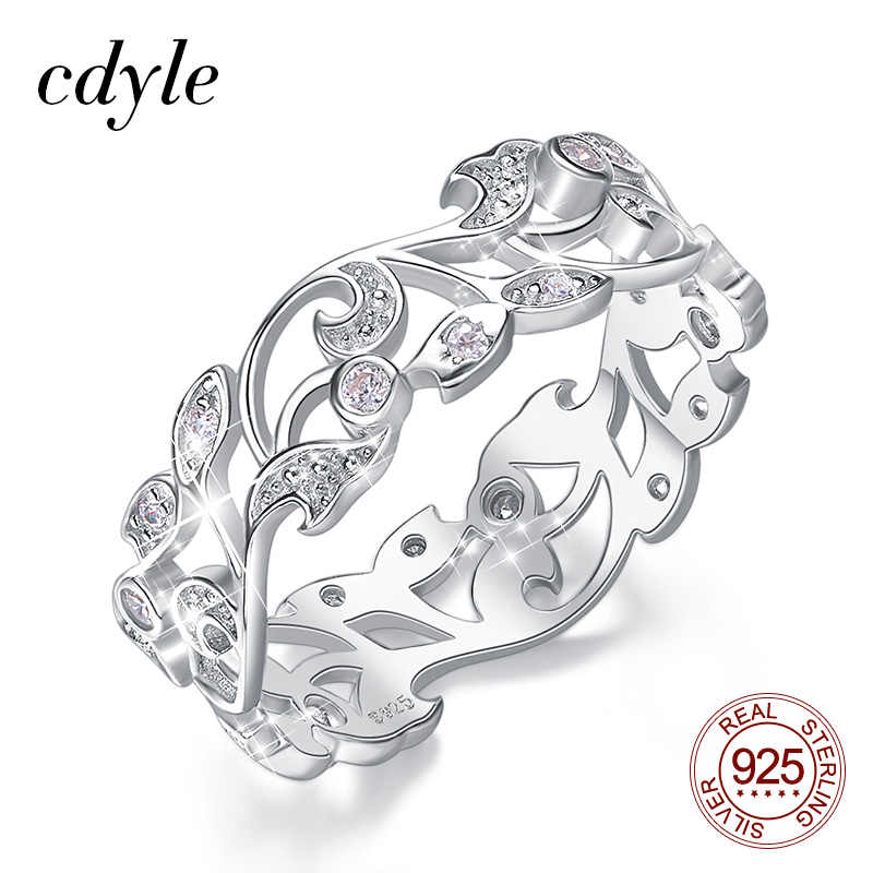 Cdyle Secret Garden Silver Ring for Women 925 Sterling Silver Engagement Wedding Ring Bohemian Jewelry Vintage Boho Party Gifts