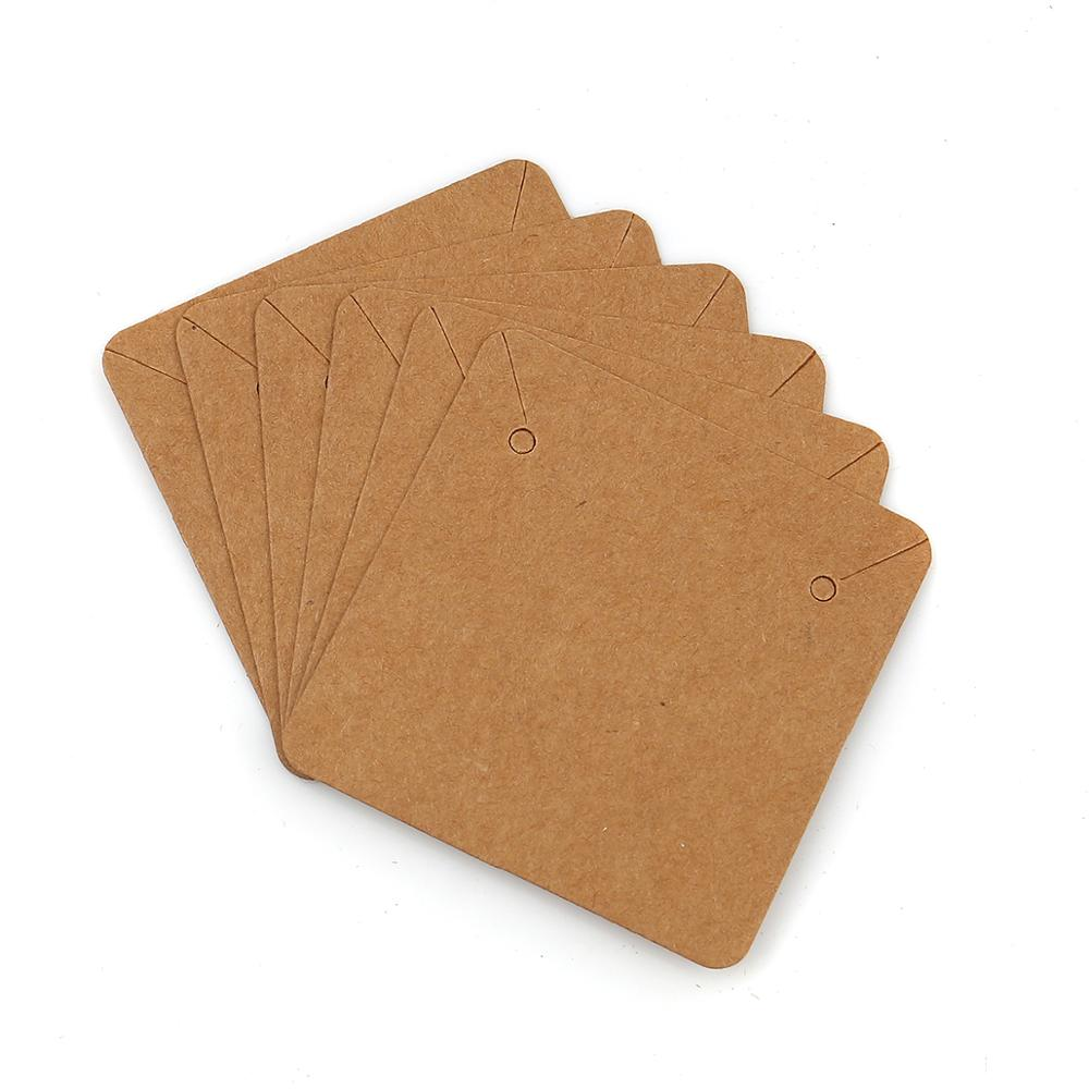 Doreen Box Paper Jewelry Earrings Display Card Square Brown Color Jewelry DIY Display Accessories 50mm X 50mm, 10 PCs