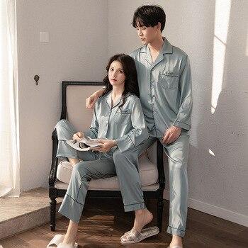 2PCS Pajamas Set Lovers Sleepwear Nightwear Satin Embroidery Letter Kimono Robe Gown Pyjamas Suit Casual Shirt&Pants Homewear