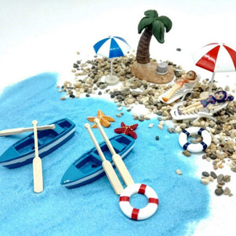 13PCS Beach Sun Umbrella Boat Shell Kits Miniature Landscape Fairy 1/12 Dollhouse Garden Figurine Miniature Ornament Decor