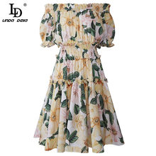Ld linda della 2021 verão moda mini vestido feminino sexy slash neck cintura elástica flor imprimir casual festa de férias curto vestido