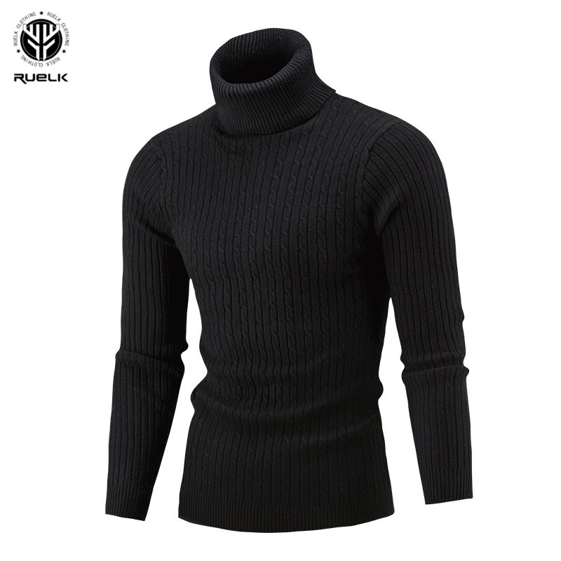 Men's Turtleneck Sweater 2019 New Autumn Winter Solid Color Sweater Casual Sweater Slim Fit Brand Simple Knitted Twist Pullovers