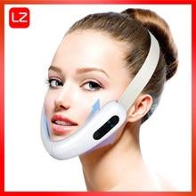 Радиочастотный микротоковый V-образный массажер для лица для лица, терапия горячим компрессом V-образная маска для похудения для лица V-обра...