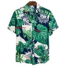 Мужчины Этническое С принтом Рубашки Цветочный Принт Лацкан Шея Короткий Рукав Тонкий Крой Ретро Топы Мужчины Повседневный Рубашки 2021 Гавайский Праздник Рубашка