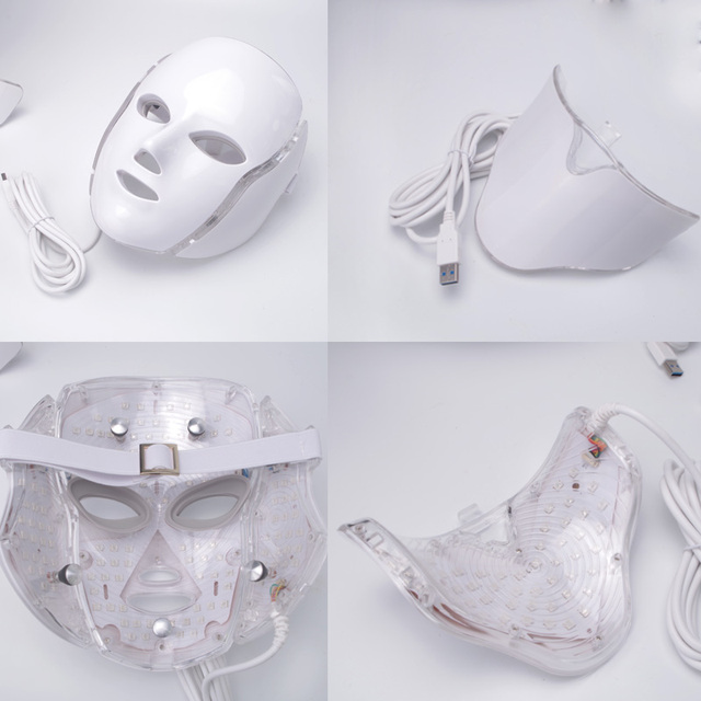 Led Face Mask 7 Color LED Facial Neck Mask with EMS Microelectronics LED Photon Mask Wrinkle Acne Removal Skin Rejuvenation 5