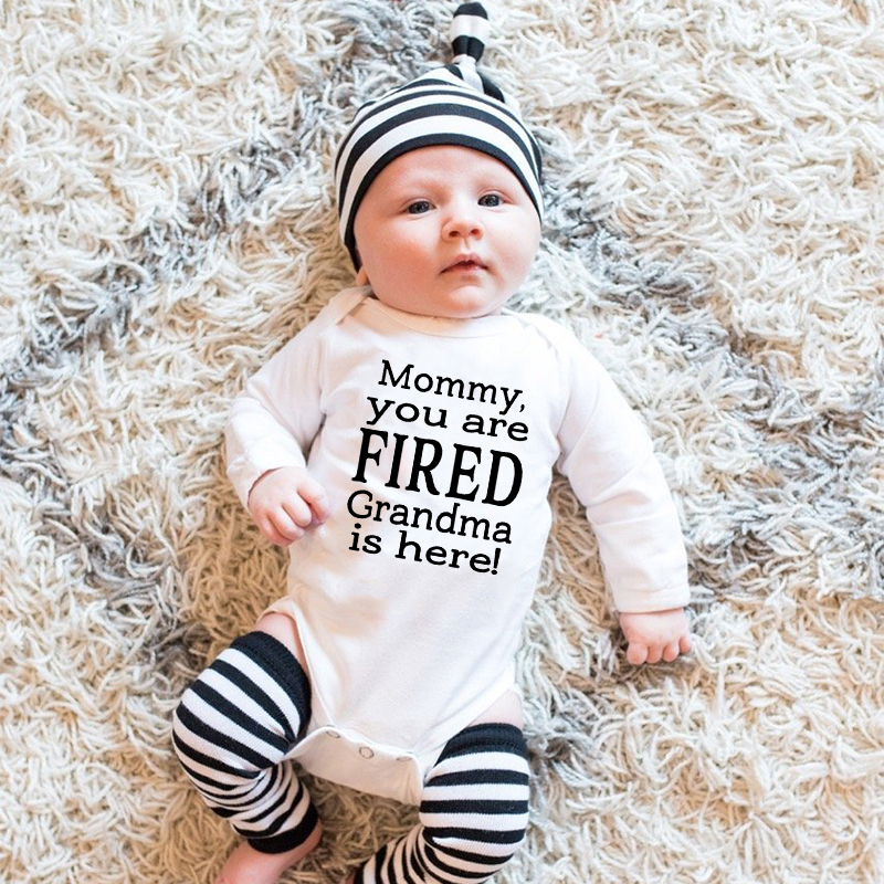 Mommy You Are Fired Grandma Is Here Baby Funny Rompers Infant Baby Boy Girls Romper Autumn Long Sleeve Jumpsuit Babe Onesie